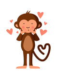 Cute monkey blowing kisses, vector illustration Stock Photos