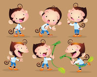 Cute monkey boy. Vector illustration cute monkey boy character many action and actions Stock Images