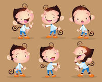 Cute monkey boy. Vector illustration cute monkey boy character many action and actions Royalty Free Stock Images