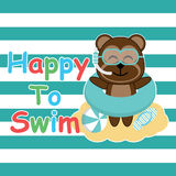 Cute monkey brings swim ring and glasses on striped background  cartoon, Summer postcard, wallpaper, and greeting card Royalty Free Stock Images