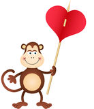 Cute Monkey carries heart Royalty Free Stock Photos
