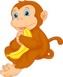 Cute monkey cartoon with banana Royalty Free Stock Image