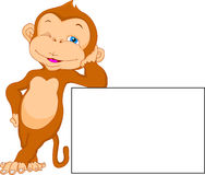 Cute monkey cartoon with blank sign Stock Images