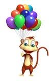 Cute Monkey cartoon character with baloon. 3d rendered illustration of Monkey cartoon character with baloon Royalty Free Stock Photos
