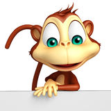 Cute Monkey cartoon character with  board Royalty Free Stock Photography