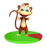 Cute Monkey cartoon character with circle sign Royalty Free Stock Image