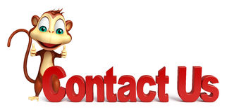 Cute Monkey cartoon character with contact us sign Royalty Free Stock Photography