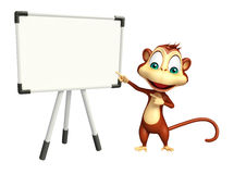 Cute Monkey cartoon character with display board Royalty Free Stock Photography
