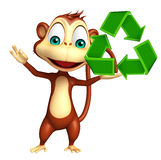 Cute Monkey cartoon character with recycle Royalty Free Stock Photo