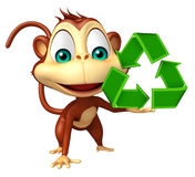Cute Monkey cartoon character with recycle Stock Photo