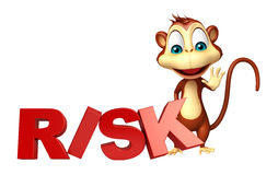 Cute Monkey cartoon character with risk sign Stock Photography