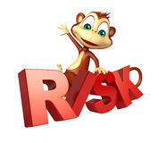 Cute Monkey cartoon character with risk sign Royalty Free Stock Photography