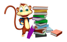 Cute Monkey cartoon character with school bag Royalty Free Stock Photography