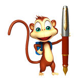 Cute Monkey cartoon character with school bag and pen. 3d rendered illustration of Monkey cartoon character with school bag and pen Stock Photo