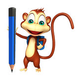 Cute Monkey cartoon character with school bag and pencil Royalty Free Stock Photo