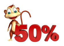 Cute Monkey cartoon character with 50% sign Stock Image