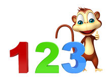 Cute Monkey cartoon character with 123 sign. 3d rendered illustration of Monkey cartoon character with 123 sign Stock Image
