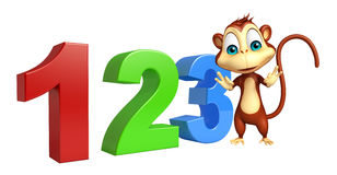 Cute Monkey cartoon character with 123 sign. 3d rendered illustration of Monkey cartoon character with 123 sign royalty free illustration