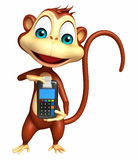 Cute Monkey cartoon character with swap machine Stock Photography