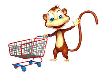 Cute Monkey cartoon character  with trolly Stock Images