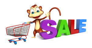 Cute Monkey cartoon character  with trolly and sale sign Royalty Free Stock Photo