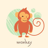 Cute Monkey Cartoon Drawing Flat Stock Photos