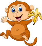 Cute monkey cartoon eating banana Royalty Free Stock Photo
