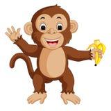 Cute monkey cartoon eating banana Stock Photos