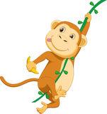 Cute monkey cartoon hanging with banana vector illustration