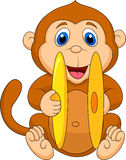Cute monkey cartoon playing cymbal Stock Photos