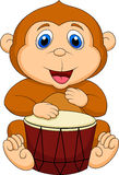 Cute monkey cartoon playing drum Stock Image