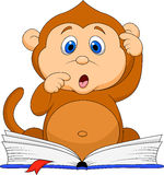 Cute monkey cartoon reading book Royalty Free Stock Image