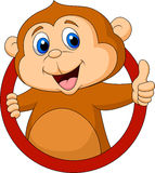 Cute monkey cartoon thumb up Royalty Free Stock Photos