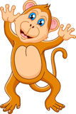 Cute monkey cartoon waving hand Stock Images