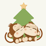 Cute monkey couple. Happy New Year 2016. Vector Illustration Royalty Free Stock Images