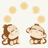 Cute monkey couple. Happy New Year 2016. Vector Illustration Royalty Free Stock Image