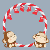 Cute monkey couple. Happy New Year 2016. Vector Illustration Stock Photo
