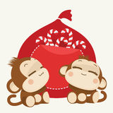Cute monkey couple. Happy New Year 2016. Vector Illustration. Cute lovely monkey couple. Happy New Year 2016. Vector Illustration royalty free illustration