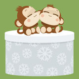 Cute monkey couple. Happy New Year 2016. Vector Illustration Royalty Free Stock Photography