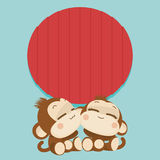 Cute monkey couple. Happy New Year 2016. Vector Illustration. Cute lovely monkey couple. Happy New Year 2016. Vector Illustration stock illustration