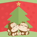 Cute monkey couple. Happy New Year 2016. Vector Illustration Stock Photography