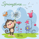 Cute Monkey with dandelion Royalty Free Stock Photography