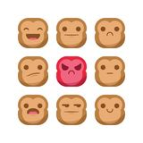 Cute Monkey emoji emoticon reaction expression smiley set vector isolated Stock Photography