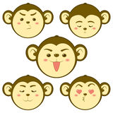 Cute Monkey. Emotion Vector illustration Royalty Free Stock Photography