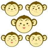 Cute Monkey. Emotion Vector illustration Royalty Free Stock Photos