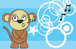 Cute monkey expression cartoon sticker Stock Photography