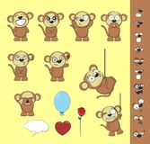 Cute monkey expression cartoon sticker set Stock Photos