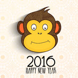 Cute Monkey face for Chinese New Year 2016. Cute Monkey face on floral decorated background for Happy Chinese New Year 2016 celebration royalty free illustration