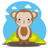 Cute monkey in the field landscape character. Vector illustration design Stock Photo
