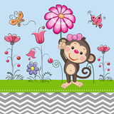 Cute Monkey with a Flower Stock Photos